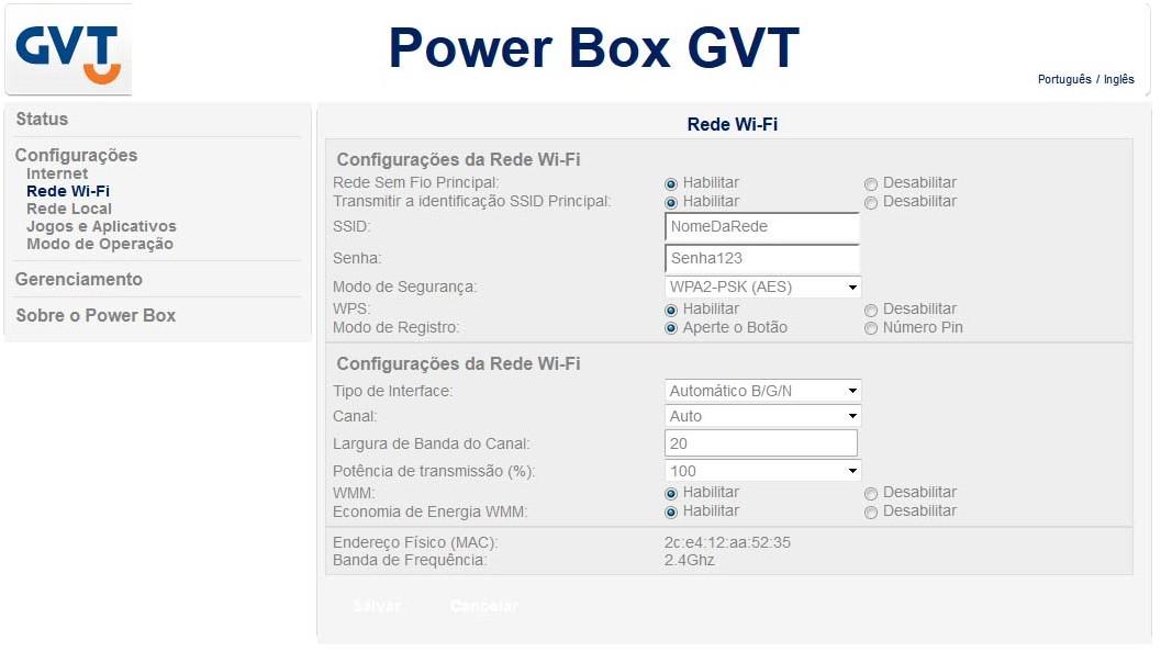 Power Box GVT - Configurações Rede Wi-Fi
