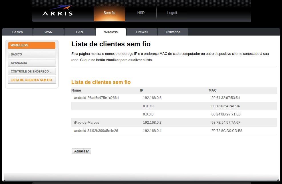 Arris tg862 - Lista de clientes conectados a rede wireless